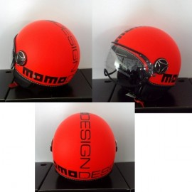 CASCO MOMO DESIGN FIGHTER ARANCIO FLUO DEC.NERA