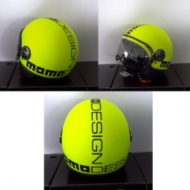 CASCO MOMO DESIGN FIGHTER GIALLO FLUO FROST DEC.NERA