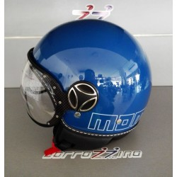 CASCO MOMO DESIGN FIGHTER GLAM BLU COBALTO DEC. OUTLINE BIANCA