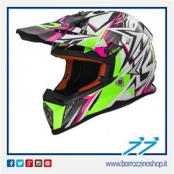 CASCO CROSS BAMBINO LS2 MX437J FAST MINI STRONG BIANCO VERDE ROSA - WHITE GREEN PINK
