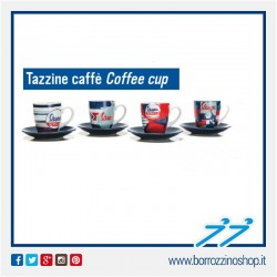 SET 4 TAZZINE CAFFE IN CERAMICA COLORATE LOGO VESPA