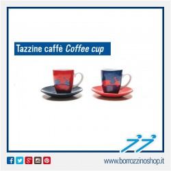 SET 2 TAZZINE DA CAFFE VESPA IN CERAMICA BLU E ROSSA