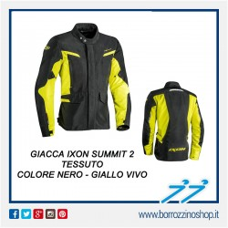 GIACCA IXON SUMMIT 2 NERO - GIALLO VIVO FLUO IMPERMEABILE MOTO ADVENTURE TESSUTO