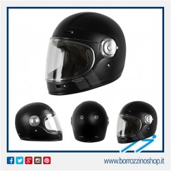 CASCO ORIGINE VEGA CLASSIC STRIPE BLACK MATT CASCO MOTO VINTAGE IN FIBRA RETRO
