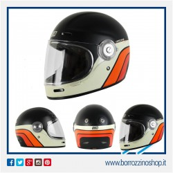 CASCO ORIGINE VEGA BLACK MATT CASCO MOTO VINTAGE IN FIBRA RETRO