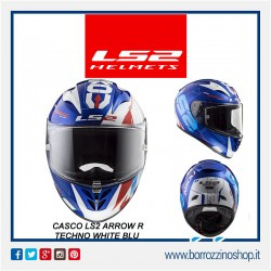 CASCO INTEGRALE MOTO IN FIBRA COMPOSITA LS2 FF323 ARROW R TECHNO WHITE BLUE CON PINLOCK INCLUSO