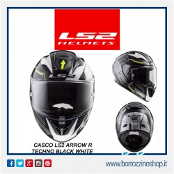 CASCO INTEGRALE MOTO IN FIBRA COMPOSITA LS2 FF323 ARROW R TECHNO WHITE BLACK CON PINLOCK INCLUSO