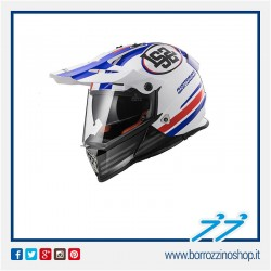 CASCO HELMET LS2 ENDURO MX436 PIONEER QUARTERBACK WHITE RED BLUE