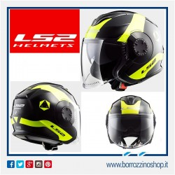 CASCO VERSO LS2 JET VISIERA LUNGA + VISIERINA OF570 TECHNIK NERO GIALLO - BLACK YELLOW