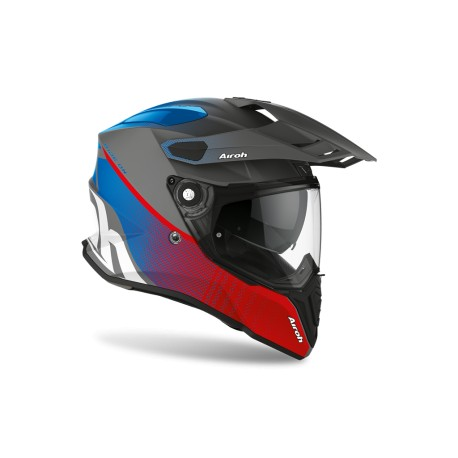 CASCO MOTO AIROH COMMANDER PROGRESS BLUE RED / BLU ROSSO OPACO FIBRA HPC