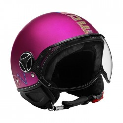 CASCO MOMODESIGN FIGHTER PIXEL ROSA OPACO LUCIDO