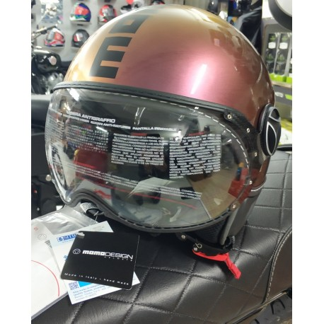 CASCO MOMODESIGN FGTR CLASSIC POP FUXIA LUCIDO IRIDISCENTE - RAME * NEW *