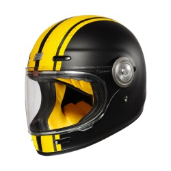 CASCO INTEGRALE ORIGINE VEGA CUSTOM MATT YELLOW BLACK MOTO VINTAGE IN FIBRA DI VETRO RETRO GIALLO NERO OPACO