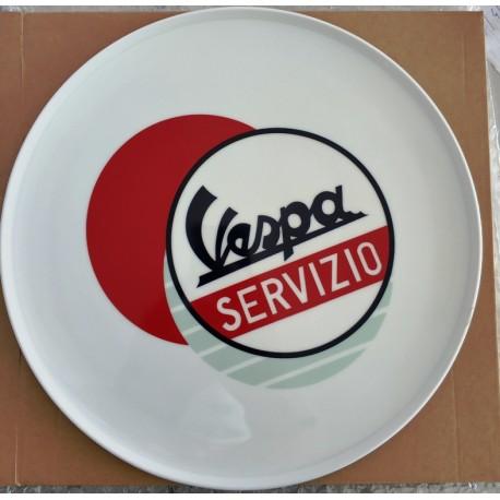 PIATTO IN CERAMICA VESPA SERVIZIO PER PIZZA - DIAM. 32 CM MULTICOLOR BOLLO ROSSO