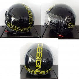 CASCO MOMO DESIGN FIGHTER GLAM NERO LUCIDO DEC.OUTLINE GIALLA