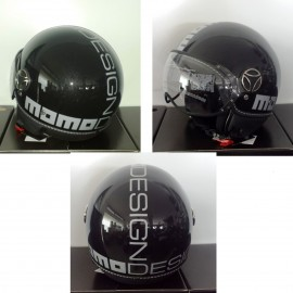 CASCO MOMO DESIGN FIGHTER CLASSIC NERO LUCIDO / ARGENTO