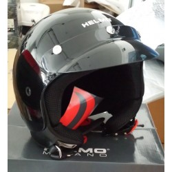 CASCO JET TRE 3 BOTTONI NERO LUCIDO GLOSS BLACK HELMO